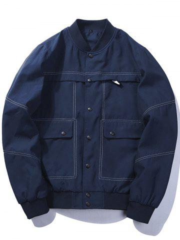 Button Up Bomber Jacket with Multi Pockets - Deep Blue - L