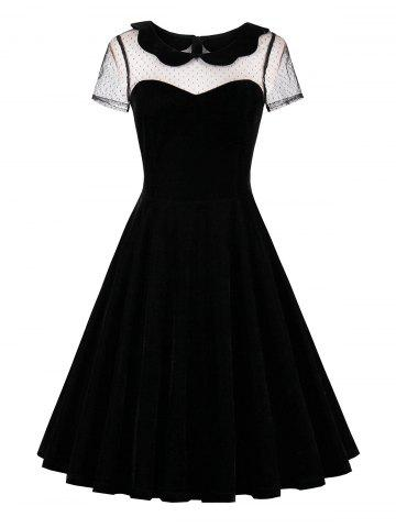 Lace Insert Short Sleeve Velvet 50s Dress - Black - 2xl