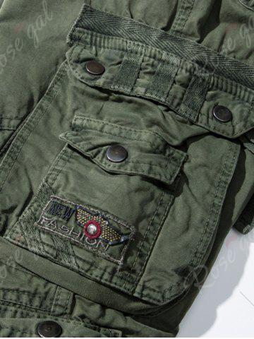 Fancy Pockets Embellished Zipper Fly Cargo Pants - 30 ARMY GREEN Mobile