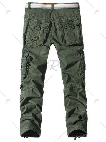 Chic Pockets Embellished Zipper Fly Cargo Pants - 30 ARMY GREEN Mobile