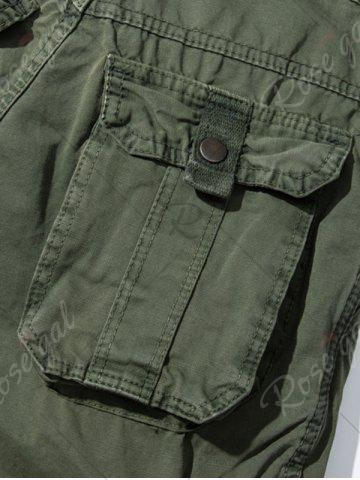 Fashion Pockets Embellished Zipper Fly Cargo Pants - 30 ARMY GREEN Mobile