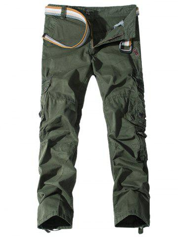 Cheap Pockets Embellished Zipper Fly Cargo Pants ARMY GREEN 32