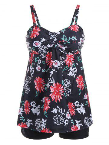 Fancy Spaghetti Strap Floral Tankini Set COLORMIX 2XL