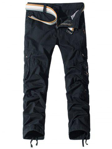 Pockets Embellished Zipper Fly Cargo Pants - Black - 30