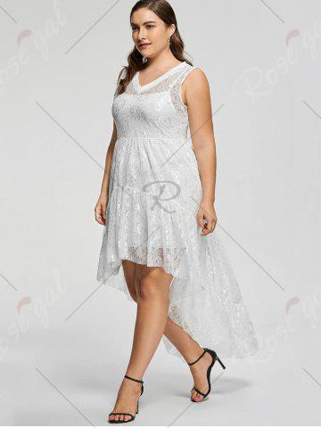 Hot High Low Lace Plus Size Party  Dress - 5XL WHITE Mobile