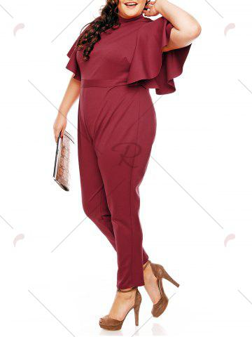 Fashion Plus Size High Waist Ruffles Sleeve Jumpsuit - 2XL WINE RED Mobile