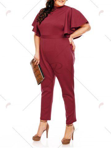 Trendy Plus Size High Waist Ruffles Sleeve Jumpsuit - 5XL WINE RED Mobile