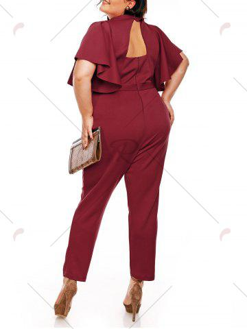 Hot Plus Size High Waist Ruffles Sleeve Jumpsuit - 5XL WINE RED Mobile