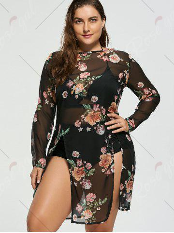 Store Floral Plus Size Chiffon Sheer Cover-Up - XL COLORMIX Mobile