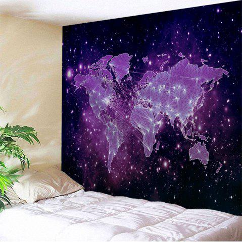 Galaxy World Map Print Tapestry Wall Hanging Art Decoration - Purple - W71 Inch * L79 Inch