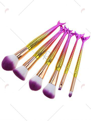 Outfit 6Pcs Gradient Color Mermaid Facial Makeup Brushes - WHITE + PURPLE  Mobile