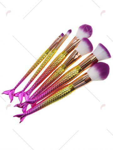 Cheap 6Pcs Gradient Color Mermaid Facial Makeup Brushes - WHITE + PURPLE  Mobile