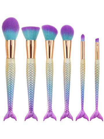 6Pcs Gradient Color Mermaid Facial Makeup Brushes - Blue Violet