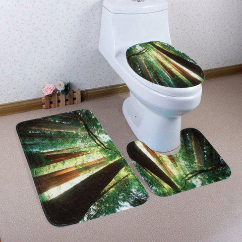 Trendy Sunshine Forest 3Pcs Toilet Cover and Floor Mats Set - GREEN  Mobile