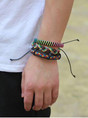 Sale Layered Multicolor Faux Leather Woven Rope Bracelets - COLORFUL  Mobile