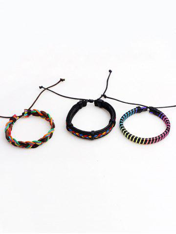 Discount Layered Multicolor Faux Leather Woven Rope Bracelets - COLORFUL  Mobile