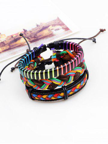 Chic Layered Multicolor Faux Leather Woven Rope Bracelets - COLORFUL  Mobile
