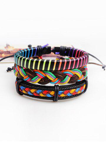 Layered Multicolor Faux Leather Woven Rope Bracelets - Colorful - Style F