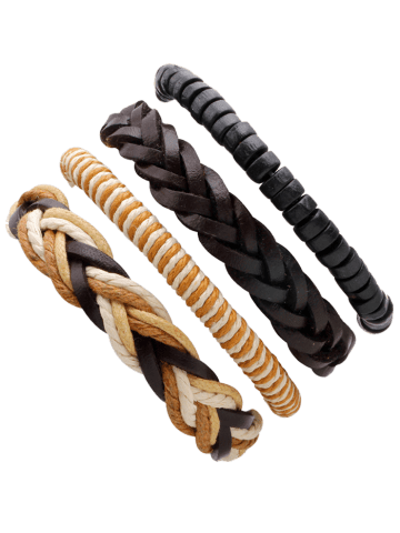 Best Faux Leather Beaded Woven Rope Bracelets Set - BROWN  Mobile