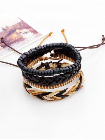 Faux Leather Beaded Woven Rope Bracelets Set - Brown