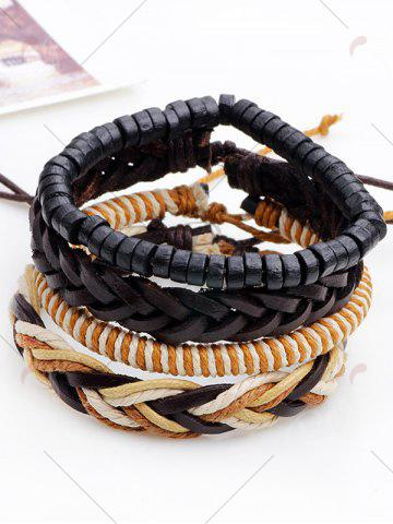 Affordable Faux Leather Beaded Woven Rope Bracelets Set - BROWN  Mobile