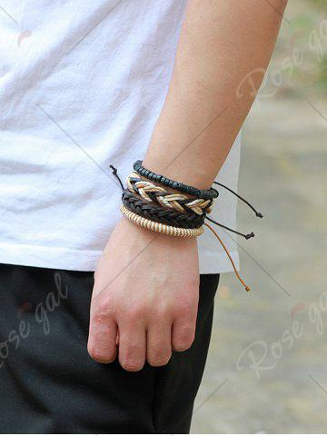 Discount Faux Leather Beaded Woven Rope Bracelets Set - BROWN  Mobile
