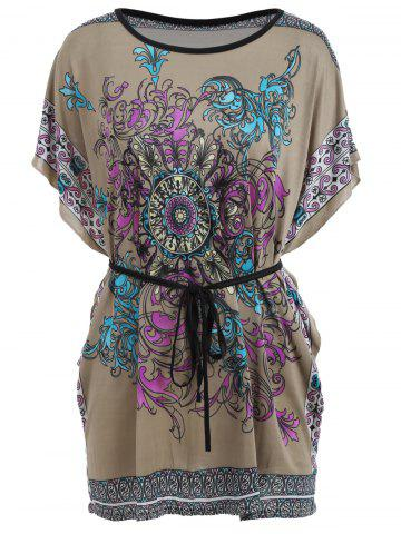 Discount Tribal Print Batwing Sleeve Tunic Tee FLORAL ONE SIZE