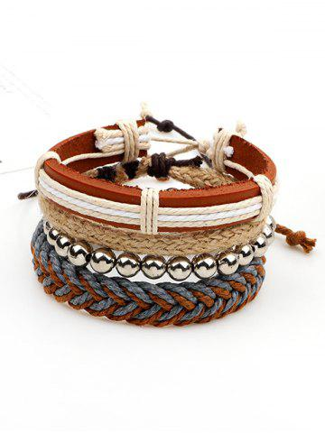 Straw Woven Rope Beaded Friendship Bracelets - Brown