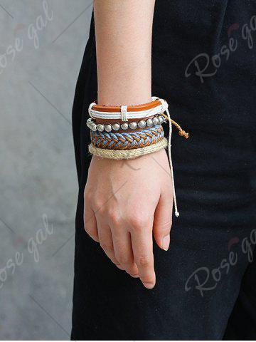 Chic Straw Woven Rope Beaded Friendship Bracelets - BROWN  Mobile