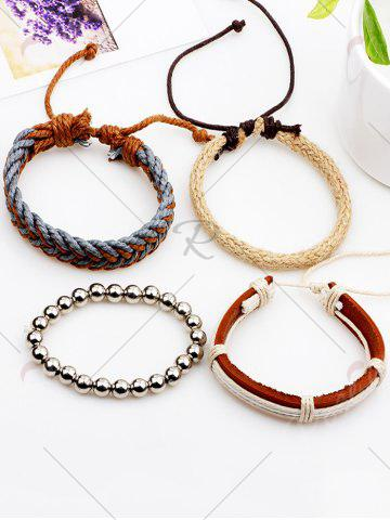 Hot Straw Woven Rope Beaded Friendship Bracelets - BROWN  Mobile