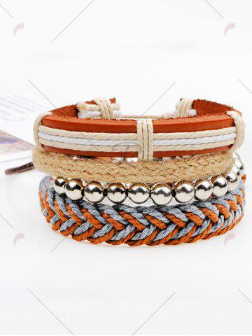 Discount Straw Woven Rope Beaded Friendship Bracelets - BROWN  Mobile