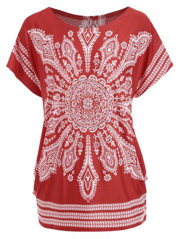 New Tribal Print Beaded Tunic Tee RED ONE SIZE