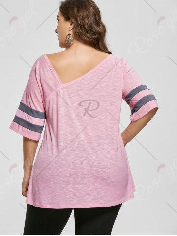 Store Plus Size Heather Skew Collar Tunic Top - XL LIGHT PINK Mobile