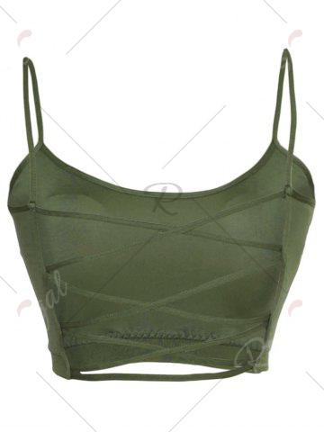 Hot Cross Back Cropped Bra - M ARMY GREEN Mobile