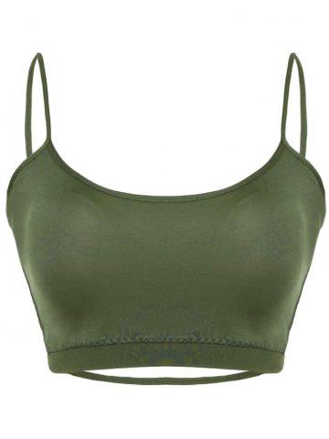 Buy Cross Back Cropped Bra - M ARMY GREEN Mobile