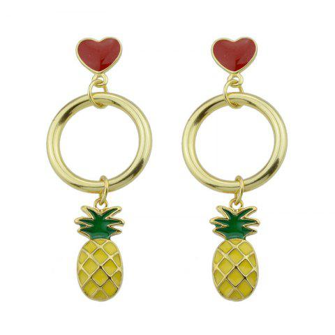 Outfits Cute Circle Heart Fruit Drop Earrings GREEN