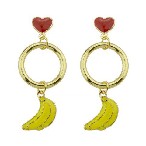 Shop Cute Circle Heart Fruit Drop Earrings YELLOW