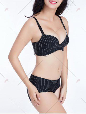 Outfits Push Up Pinstriped Cami Bra - 85B BLACK Mobile