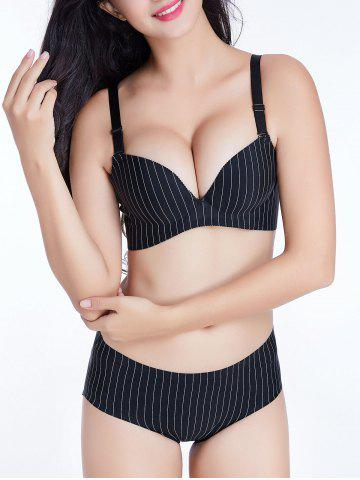 Chic Push Up Pinstriped Cami Bra - 85B BLACK Mobile
