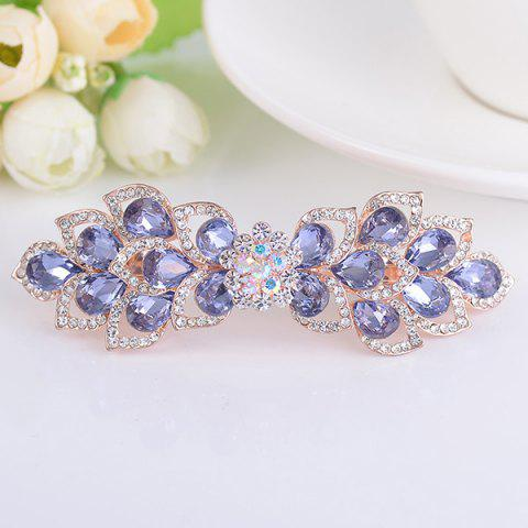 Fancy Hollow Out Flower Shape Rinestone Inlaid Barrette - PURPLE  Mobile