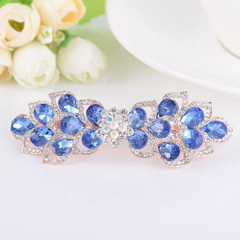 Hot Hollow Out Flower Shape Rinestone Inlaid Barrette BLUE