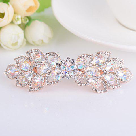Shops Hollow Out Flower Shape Rinestone Inlaid Barrette WHITE