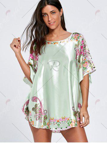 Discount Batwing Sleeve Tunic Pajama Top - ONE SIZE LIGHT GREEN Mobile