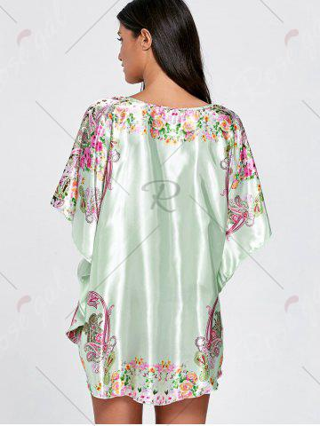 Fancy Batwing Sleeve Tunic Pajama Top - ONE SIZE LIGHT GREEN Mobile