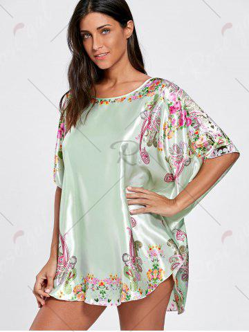 Outfits Batwing Sleeve Tunic Pajama Top - ONE SIZE LIGHT GREEN Mobile