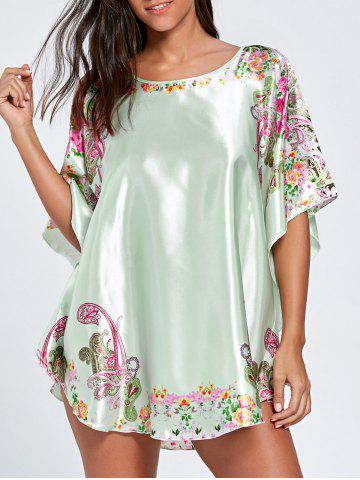 Hot Batwing Sleeve Tunic Pajama Top - ONE SIZE LIGHT GREEN Mobile