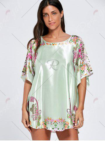 Online Batwing Sleeve Tunic Pajama Top - ONE SIZE LIGHT GREEN Mobile
