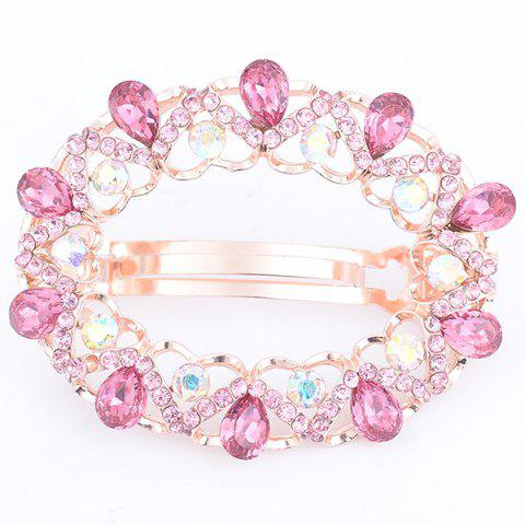 Online Faux Gem Inlaid Hollow Out Round Barrette - PINK  Mobile
