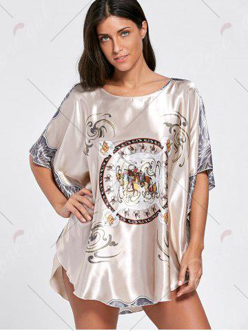 Store Batwing Sleeve Tunic Pajama Top - ONE SIZE LIGHT COFFEE Mobile