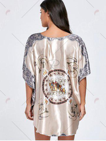 Online Batwing Sleeve Tunic Pajama Top - ONE SIZE LIGHT COFFEE Mobile